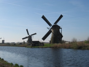 Windmills along canal in Kinderdijk