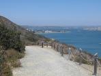 Nearing trail end, looking toward US Naval facilities & eastward